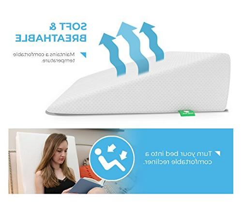 Bed Wedge with Memory Top Cushy - Best for Sleeping, Post Leg Elevation, Breathing Cover