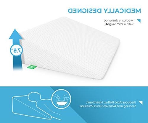 Bed Wedge Pillow Memory Cushy for Sleeping, Reflux, Post Reading, Elevation, Breathing Disorders - Washable Cover