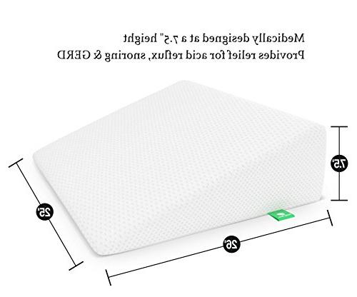 Bed Wedge Pillow Memory Cushy Form Best for Post Reading, Elevation, Breathing - Washable Cover