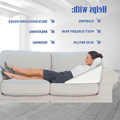 Bed Pillow for Sleeping Acid -Firm Memory Foam and a Cover- Post Surgery, Gerd, Anti Snoring, Reading, Pregnancy Pillow