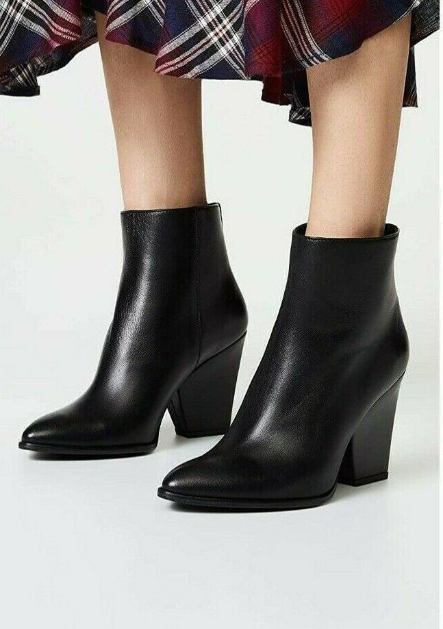 bedford leather wedge boots booties black size