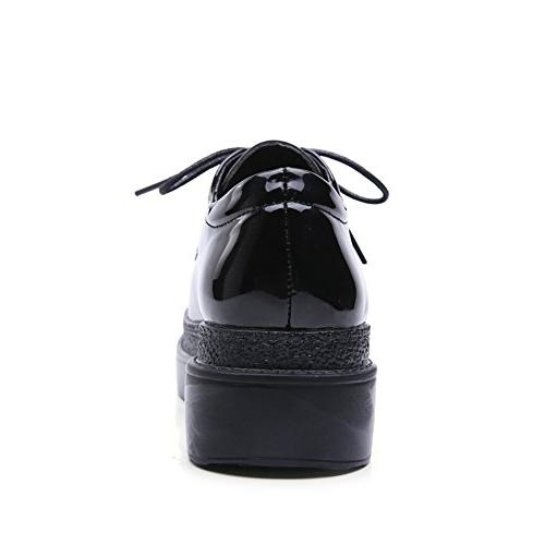 HKR-CBC11heise41 Women Lace Platform Wedge Oxfords Fashion Sneakers Shoes Black M