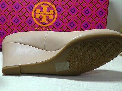 TORY Chelsea GOAN SAND Leather Wedge Pumps Size *****$278*****