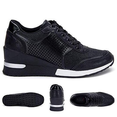 High Sneakers for Women Hidden Sneakers Shoes, Casual SM1-BLACK-7.5