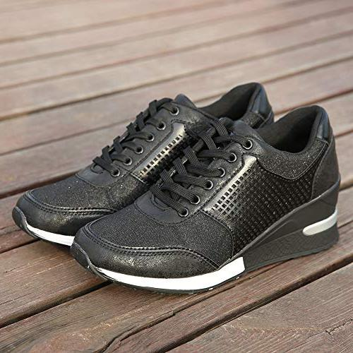 High Heeld for Women Ladies Hidden Sneakers Shoes, Casual and Wear SM1-BLACK-7.5