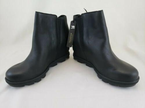 Sorel Joan Wedge II Zip Boots Black Women's 6 Waterproof