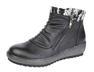 ladies fashion boots low side zip ankle