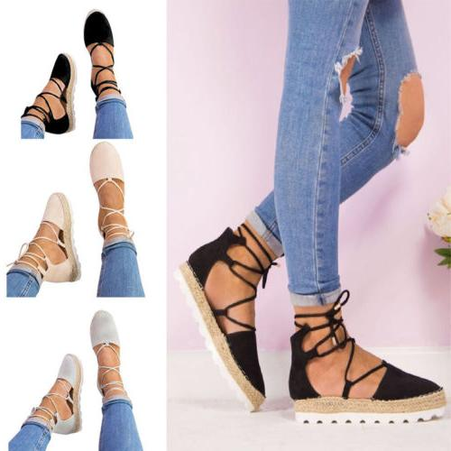 Ladies Wedge Heel Espadrilles Sandals Ankle US