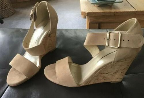 lineone cork wedge size 6 tan suede