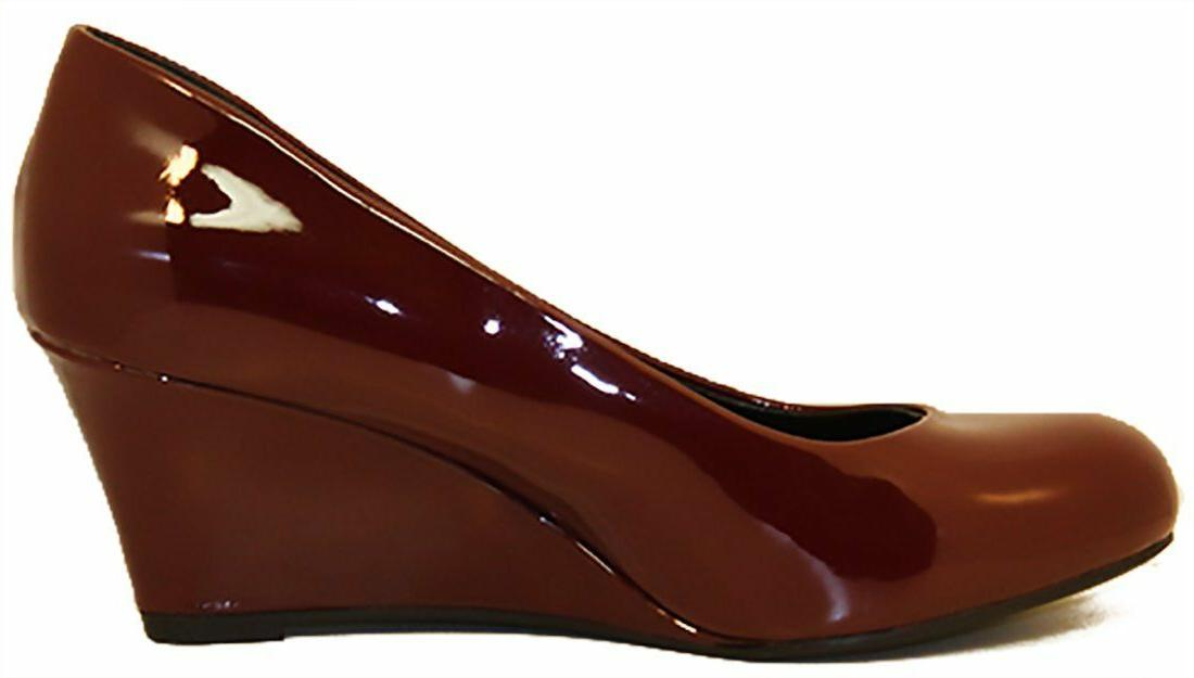 Forever Link Women's Patent Round Wedge Pumps - WINE - 7.5