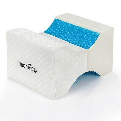 memory foam knee pillow with cooling gel
