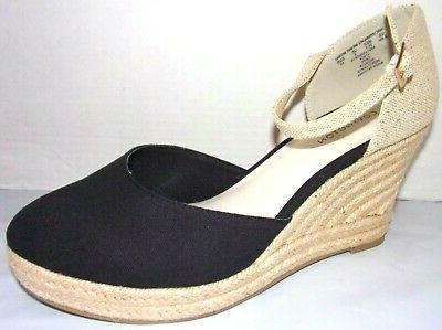 new cape black and natural wedge heels