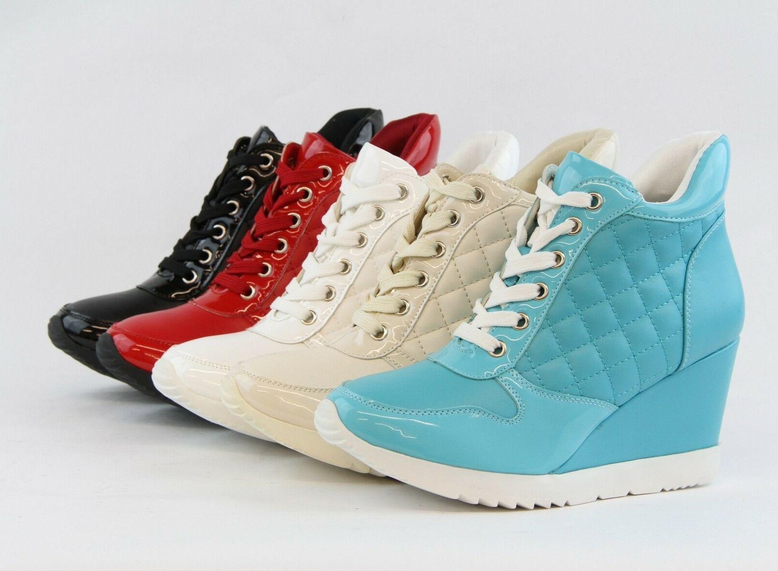 new fashion women wedge sneaker shoes quilted