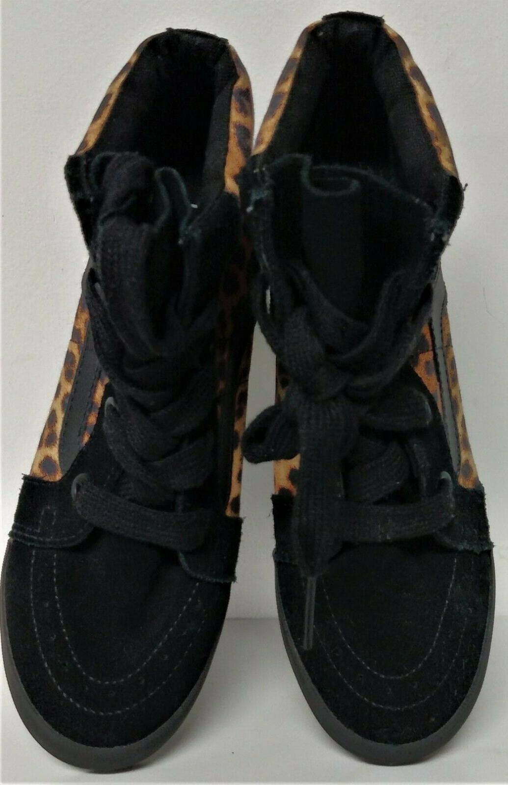 NEW Vans SK8 Animal Print Wedge High-Top Shoes-Size