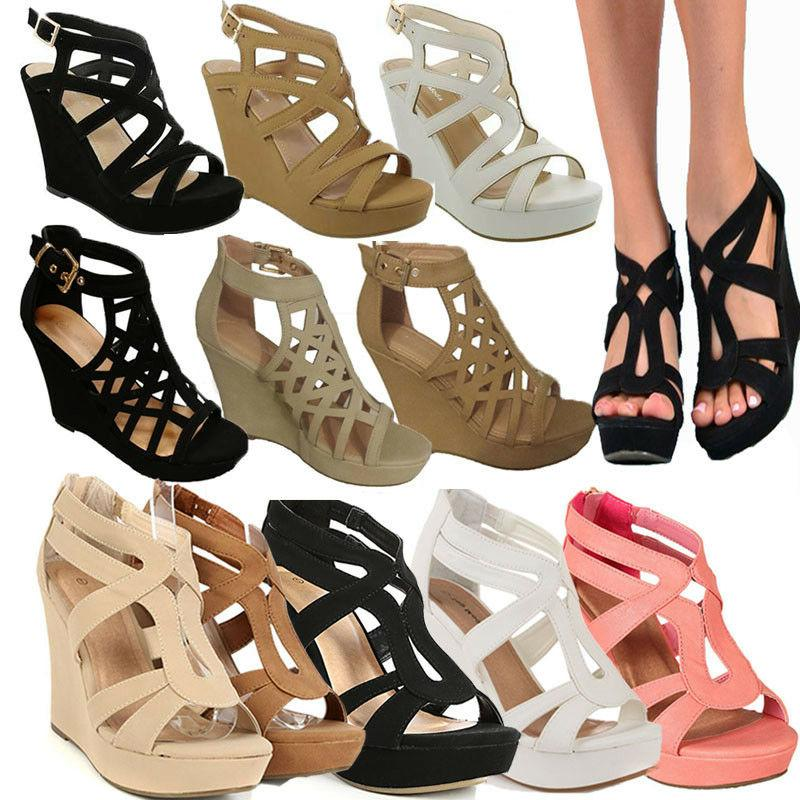 new women high heel wedge gladiator strappy