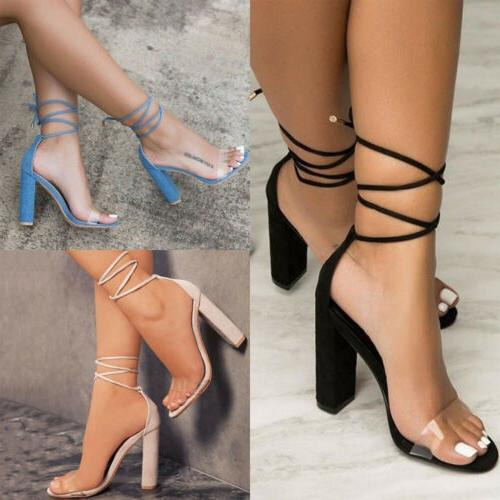 Women High Heels Block Ankle Strap Chunky Sandals Party Dress Size 9