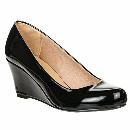 NEW PATENT ROUND HEEL PUMPS SHOES
