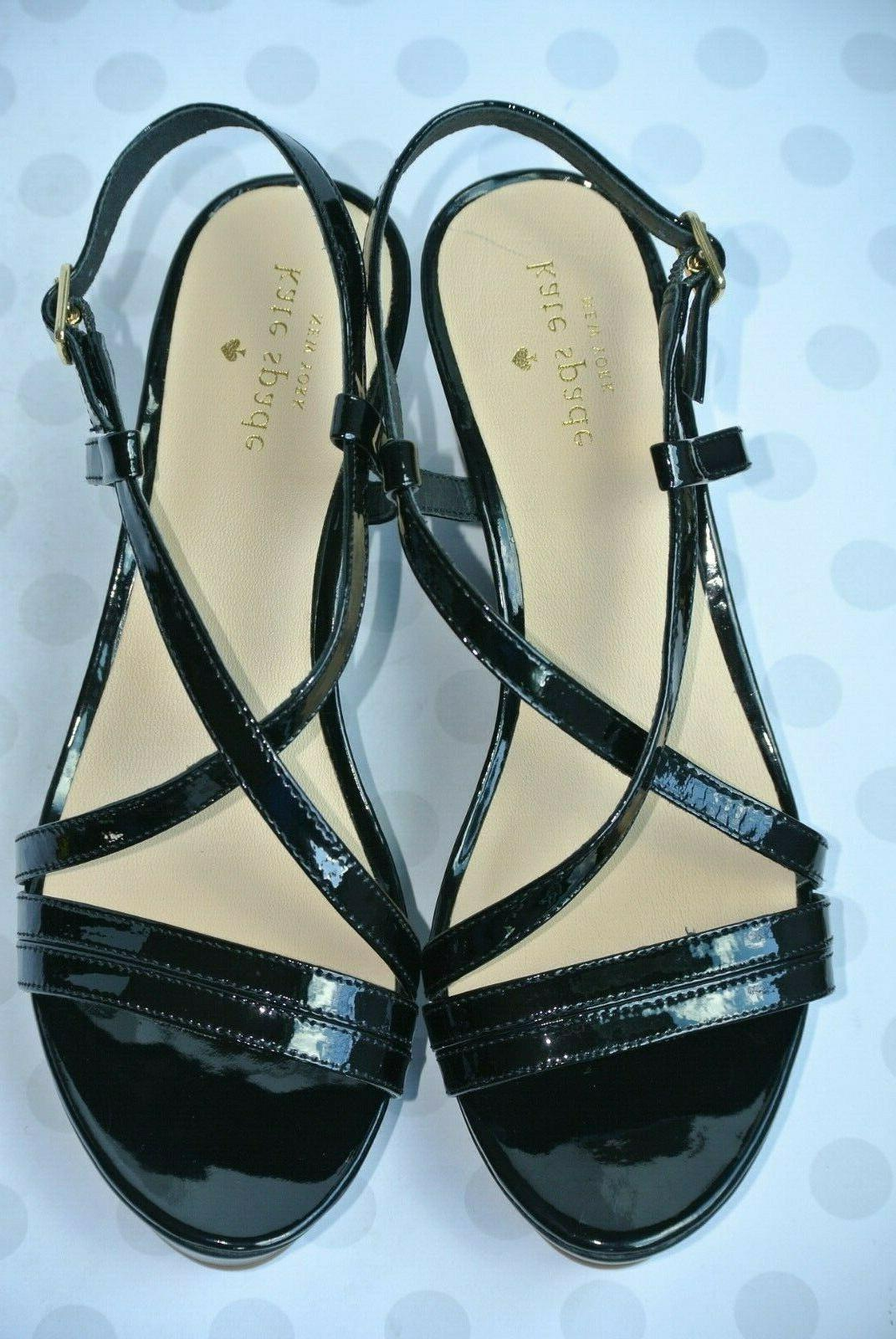 NEW York Womens Black Leather Platform Sandals