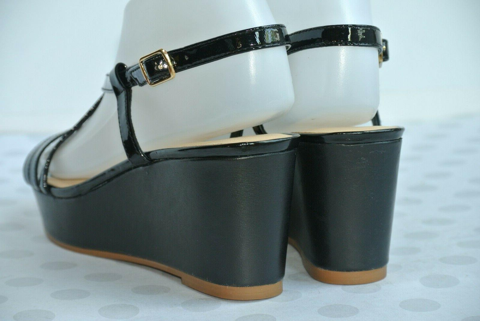 NEW Spade York Black Wedge Sandals Heels