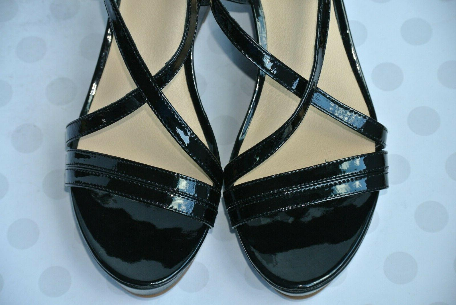 NEW Kate Spade York Black Leather Wedge Sandals