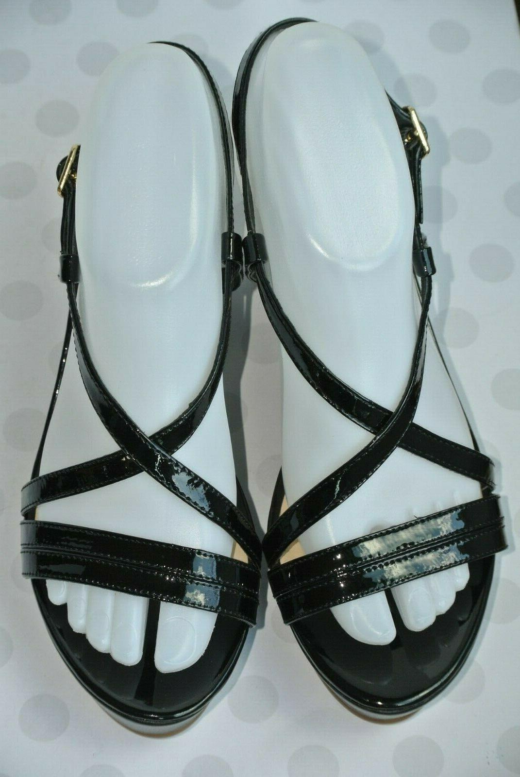 NEW Spade York Black Leather Platform Wedge Sandals