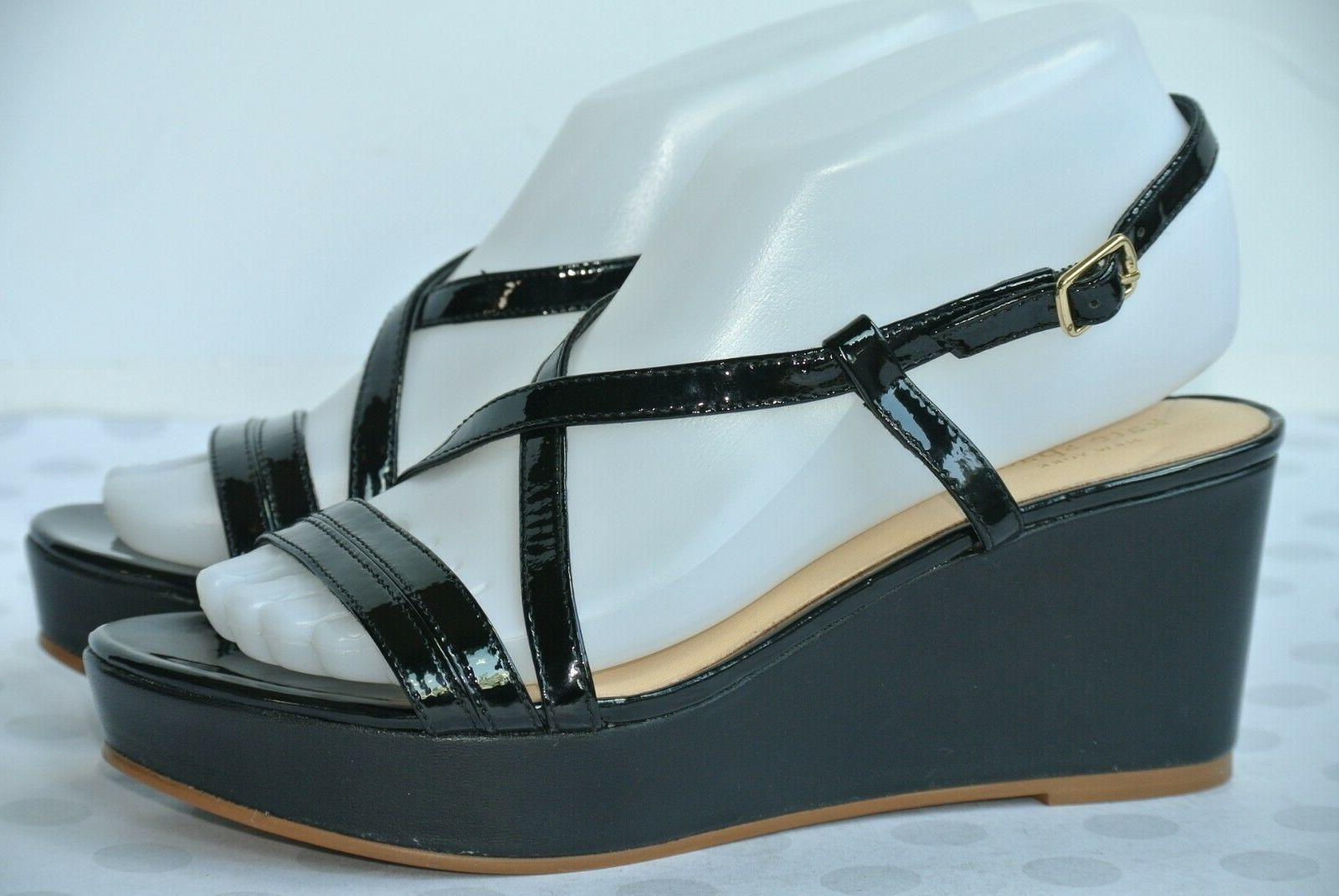 NEW York 7 Black Leather Platform Sandals Heels