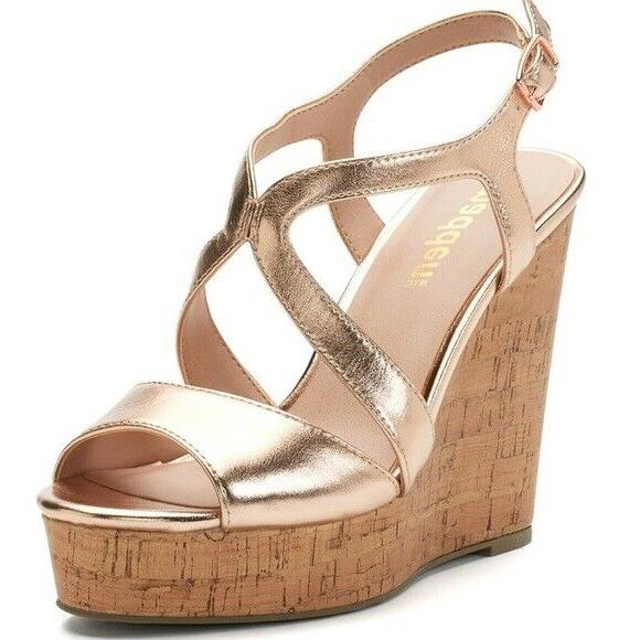 nib rose gold cork wedge heel sandals