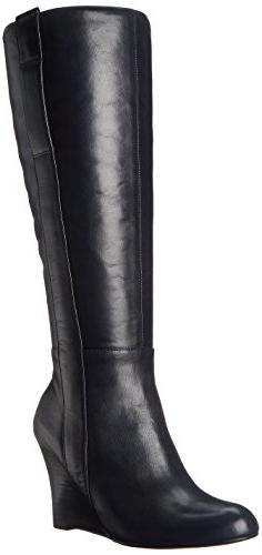 Nine West Women's Oran-Wide Leather Knee High Boot, Navy, 6