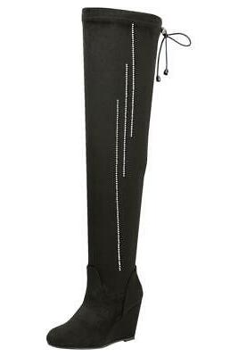 Paola-88 Forever Heel Thigh High Up Side Accent Boots