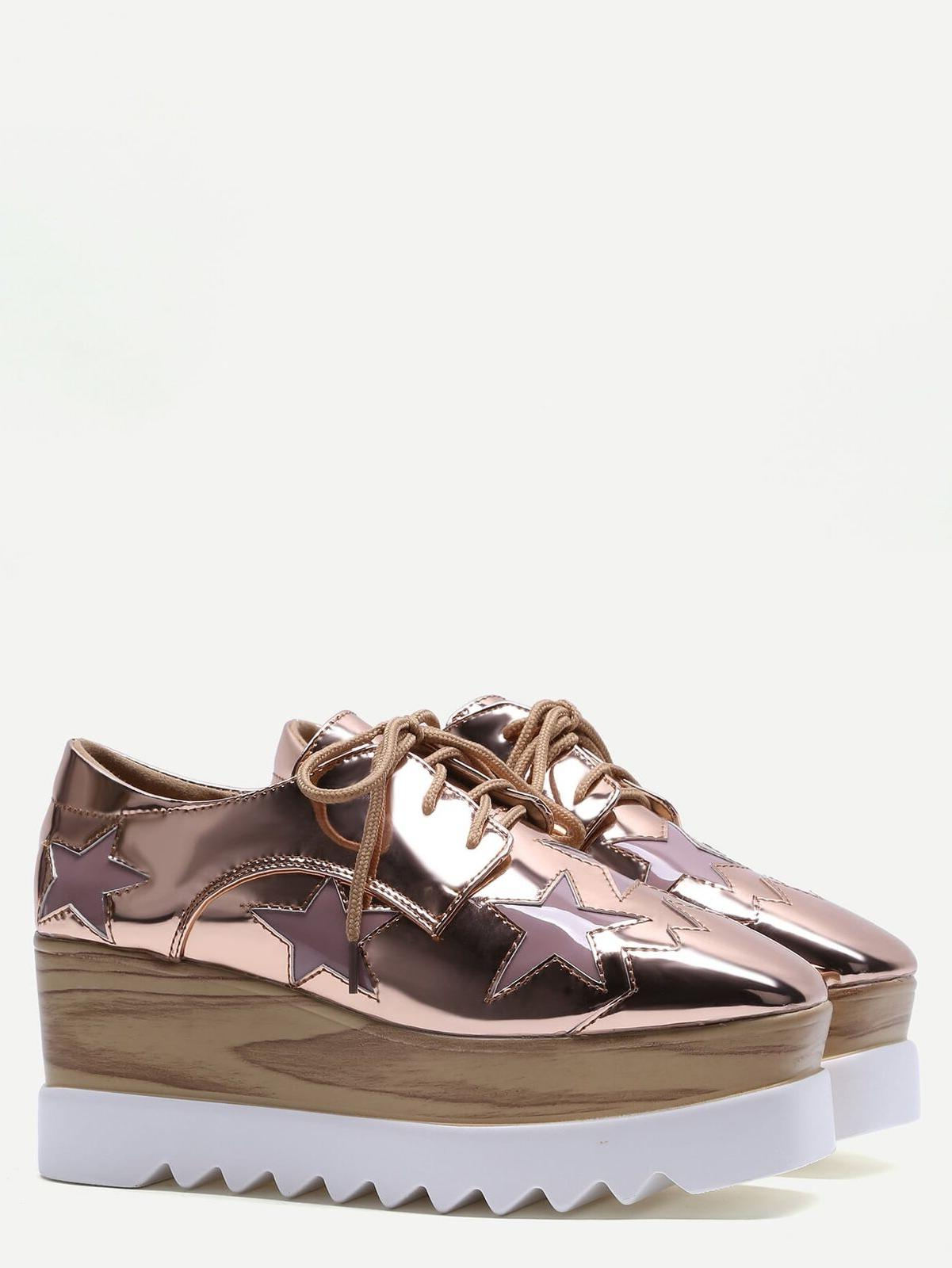 Patent Leather Women's Up Platform Oxfords Heel Casual Pumps