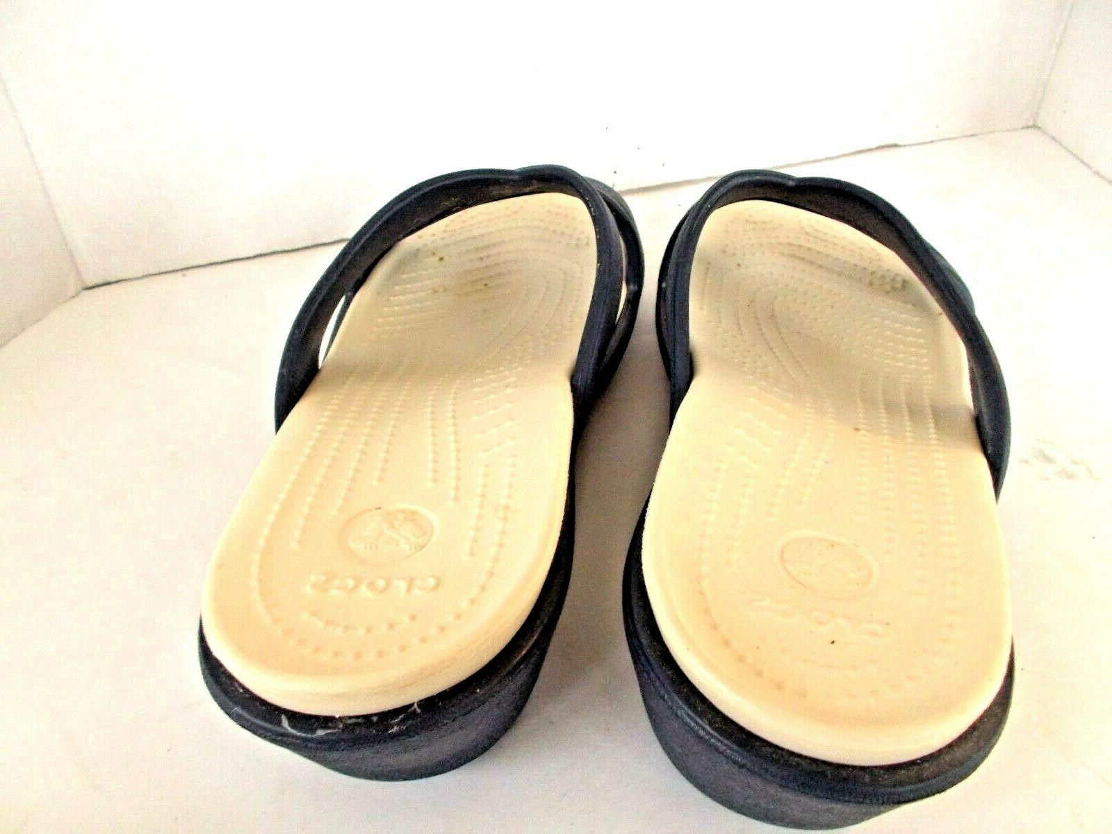 Crocs Patrica II Two Toned Navy/Oyster Wedge Sandals, Size 11
