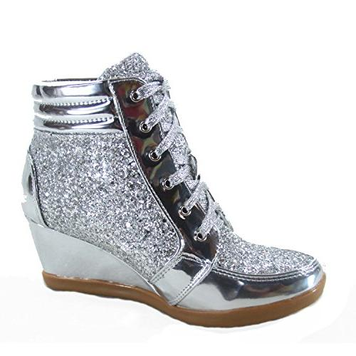 Forever Peggy-44 Fashion High Top Lace up Wedge Shoes US, Silver)