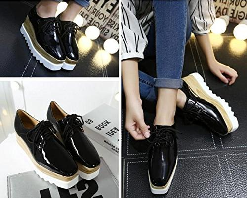 TENGYUFLY Oxfords Casual Up Heels Wingtips Square Toe