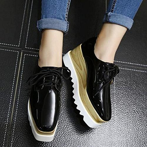 TENGYUFLY Women's Wedges Oxfords Classic Casual Up Heels Square Shoes