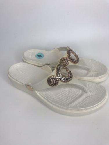 CROCS Oyster/Rose Gold Size 6