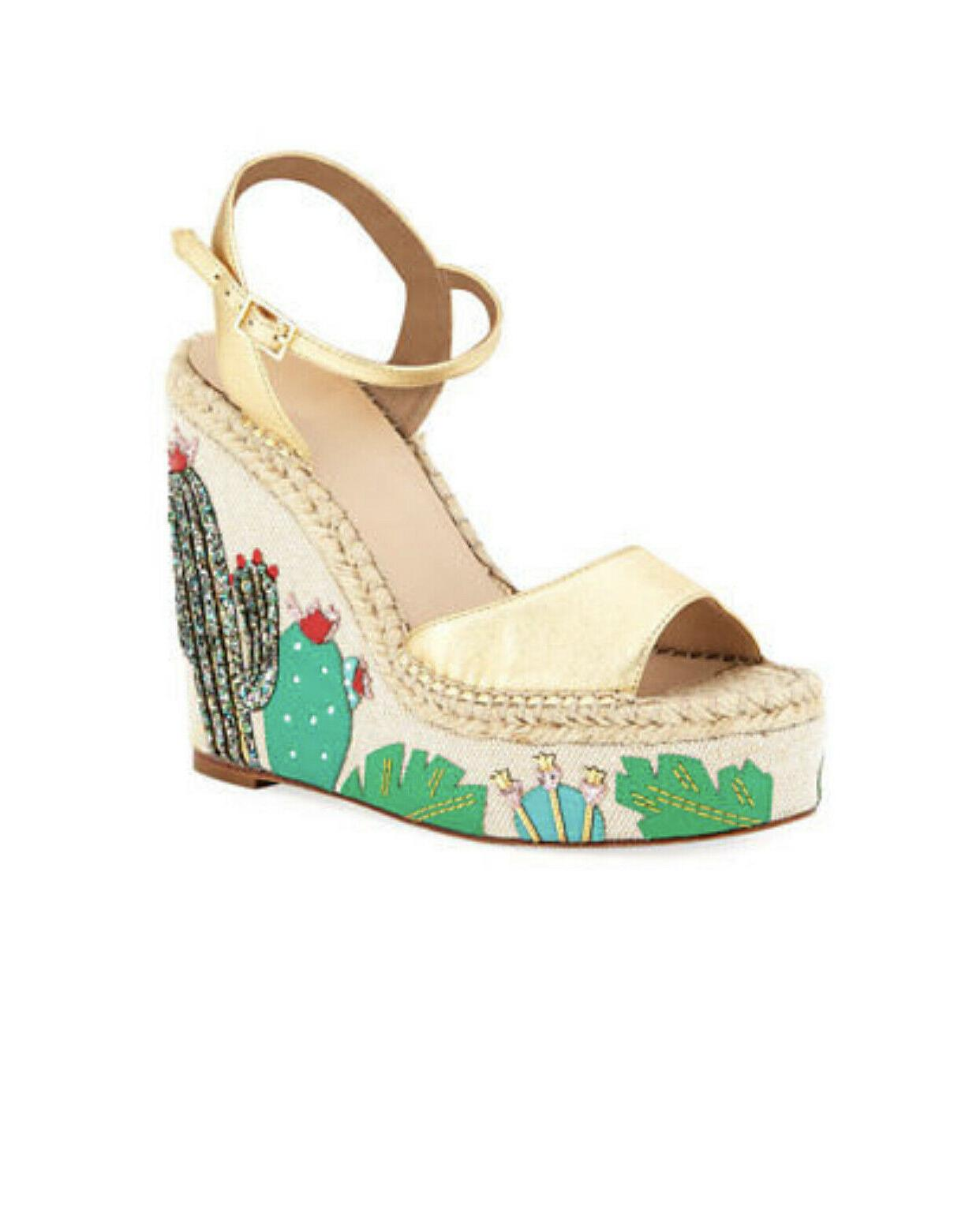 KATE NEW size 11 CACTUS WEDGE ankle gold