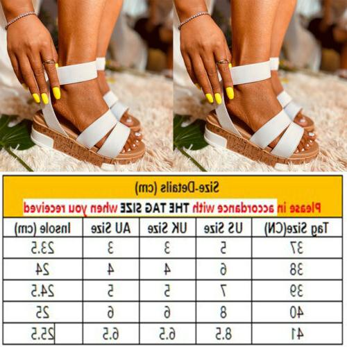 Summer Women Ankle Flatform Sandals Platform Wedges Shoes Size