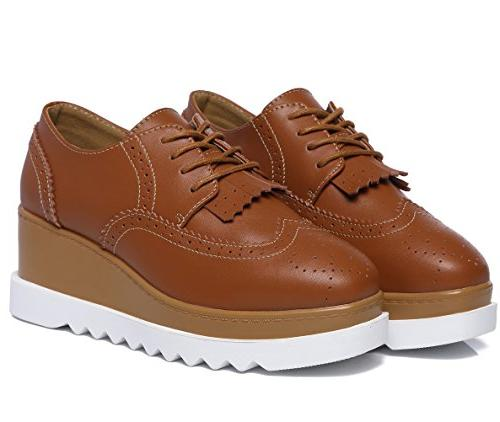 DADAWEN Square-Toe Lace-up Oxford Shoes Size