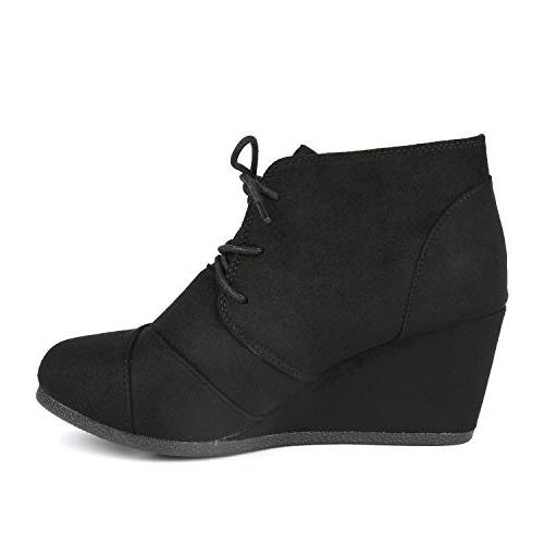 DREAM PAIRS Casual Outdoor Up Wedge Heel Booties Shoes black B US
