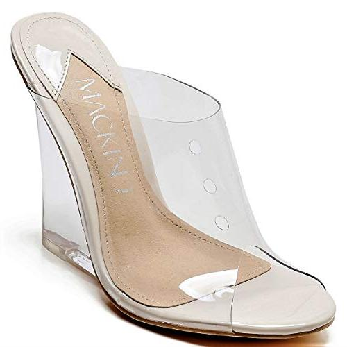Lucite Wedge PVC Open On Nude