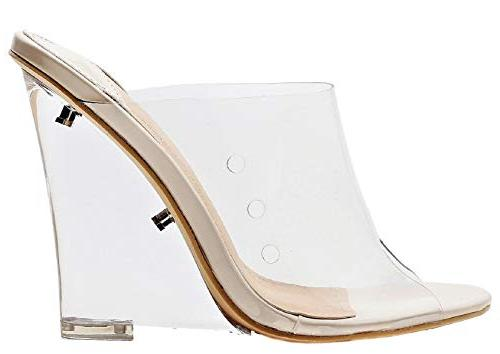 transpatent lucite clear wedge heel