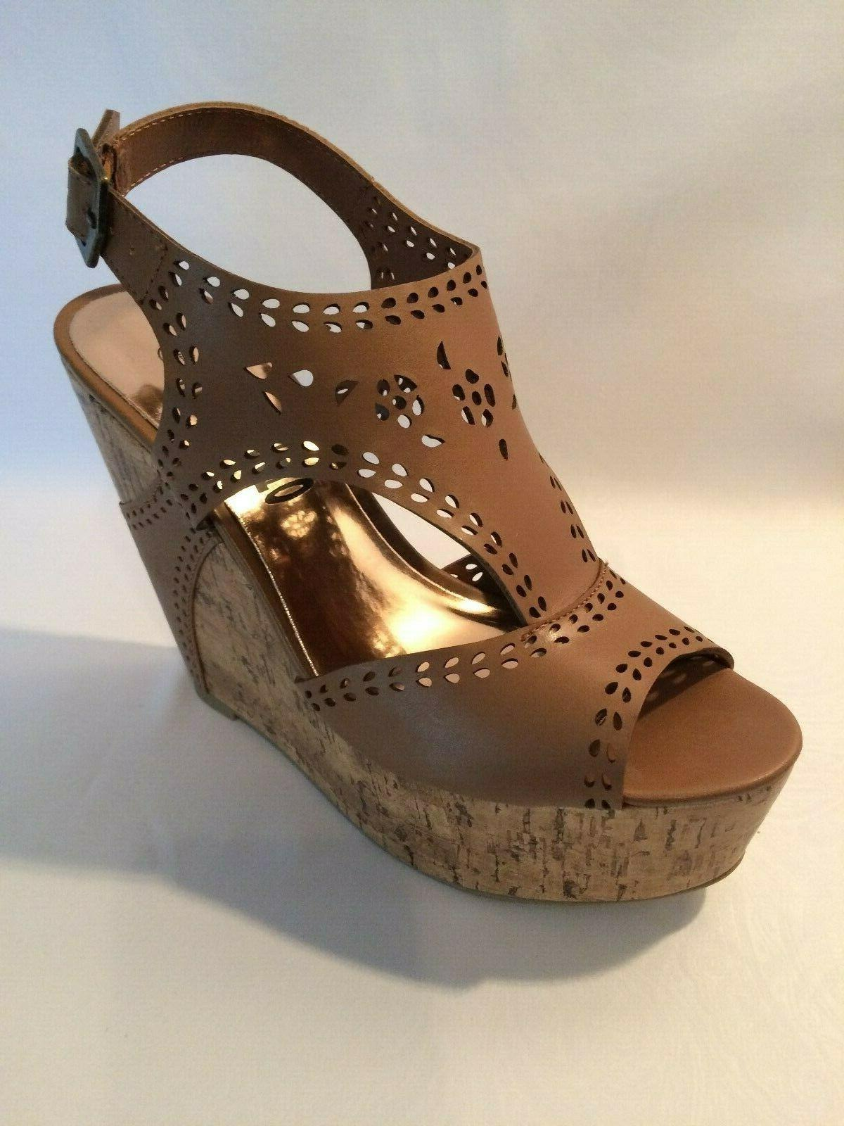 US Seller!!! Tomato Brown Wedge Sandals