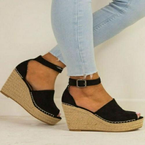 US High Wedge Sandal Open Ankle Strap Espadrilles Shoes