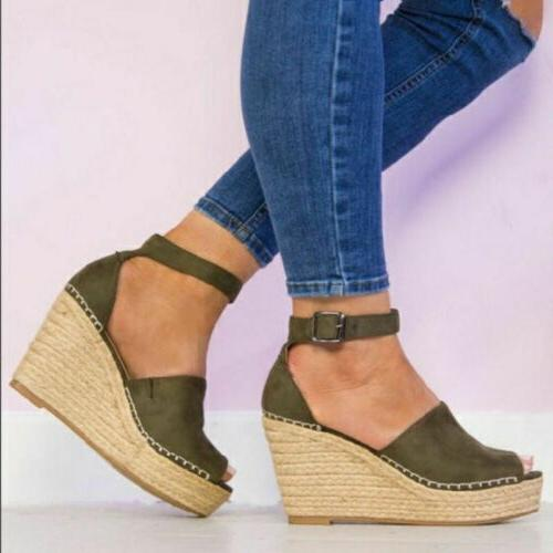 US Women High Wedge Ankle Shoes