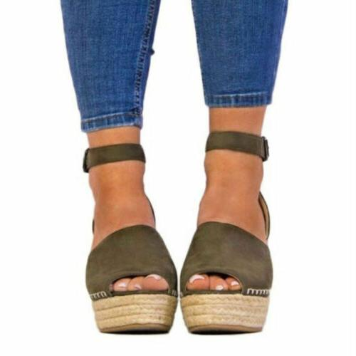 US Wedge Open Toe Ankle Strap Platform Shoes