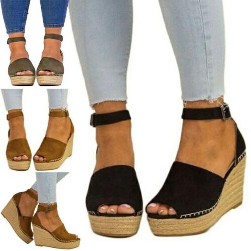 US Women Wedge Sandal Open Toe Ankle Strap