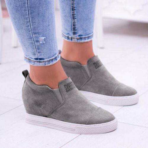 US Women Sneakers Slip Shoes Wedge Size 5-10