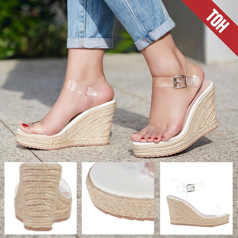 us womens sandals summer straw wedges high