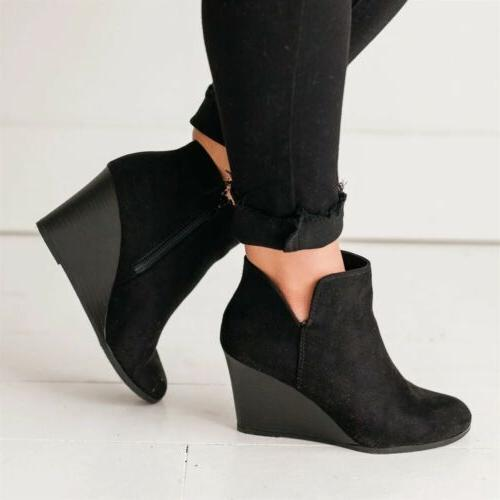 Women's Wedge Boots Faux Suede Round Booties