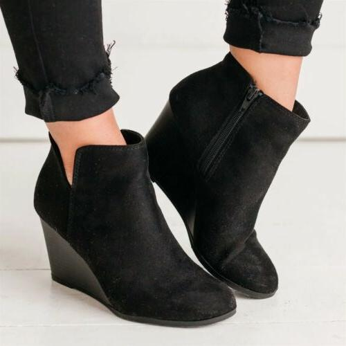 Women's Heel Boots Chunky Faux Round Toe Booties